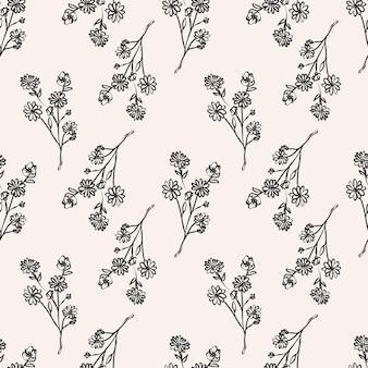 Hand drawn monochrome flower pattern design