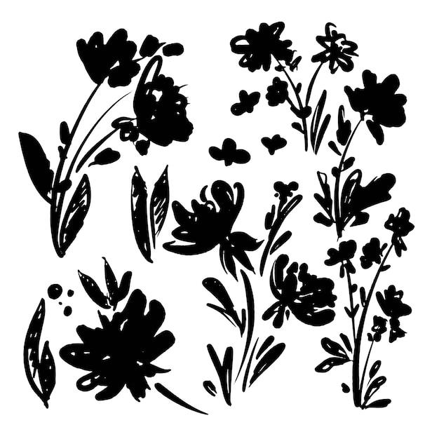 손으로 그린된 흑백 꽃 패턴 원활한
