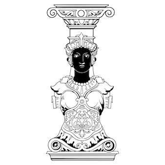 手描きのモノクロギリシャの女性像のイラスト