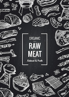 Hand drawn monochrome meat elements gathered toghether with place for text on black chalkboard