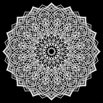 Hand drawn monochrome oriental ornamental lace round mandala for use in design t-shirt, vintage card, party invitation, poster, brochures, gift album, scrapbook cover or pages
