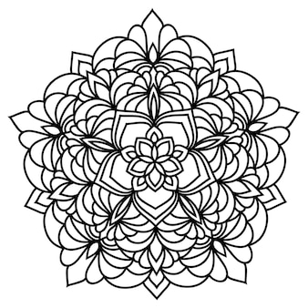 手描きのモノクロオリエンタル装飾レースラウンドマンダラ