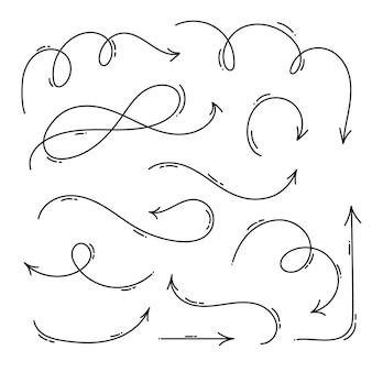Hand drawn monoline arrow set