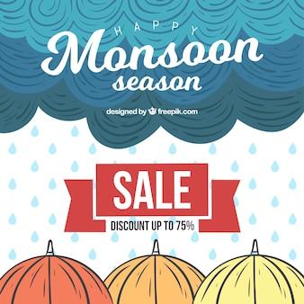 Composizione di vendita monsone disegnata a mano