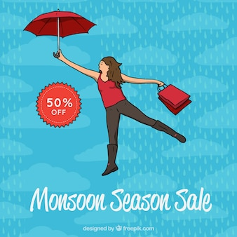 Hand drawn monsoon sale composition