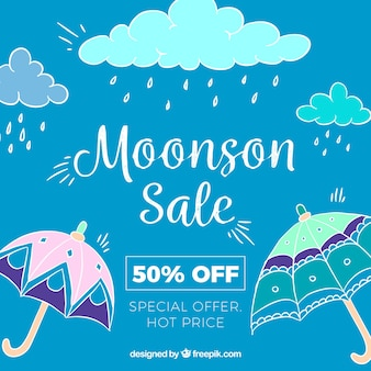 Hand drawn monsoon season sale composition