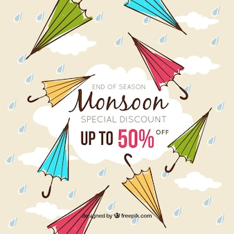 Hand drawn monsoon season sale composition
