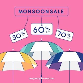 Composizione di vendita stagione monsonica disegnata a mano