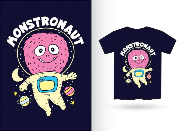 Hand drawn monster astronaut for t shirt