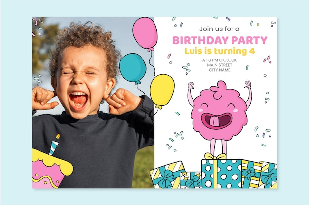 Hand drawn monster birthday invitation with photo template