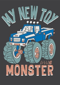 Hand drawn monster car vector for t shirt printing