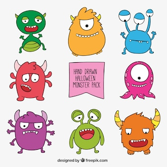 Hand drawn monster collection