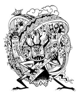 ロック・ミュージックを演奏する手描きのモンスター・ロック・バンド