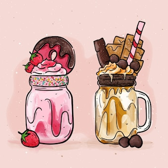 Hand drawn monster shakes pack