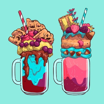 Hand drawn monster shakes