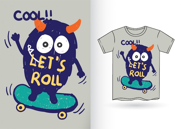 Hand drawn monster for t shirt