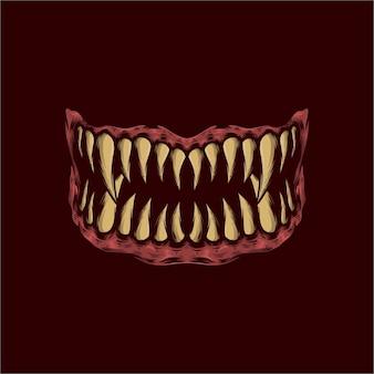 Ручной обращается монстр зубы векторные иллюстрации