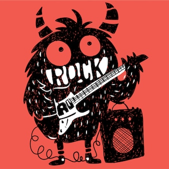 Hand drawn monster vector for t shirt printing