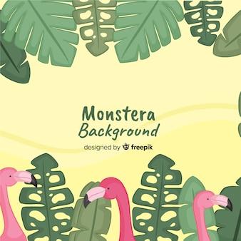 Hand drawn monstera background