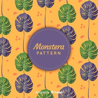 Hand drawn monstera leaves pattern