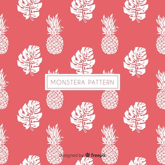 Hand drawn monstera leaves and pineapples background