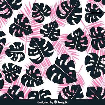 Hand drawn monstera leaves silhouettes background