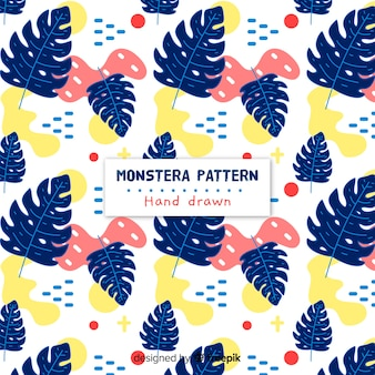 Hand drawn monstera pattern