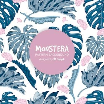 Hand drawn monstera pattern