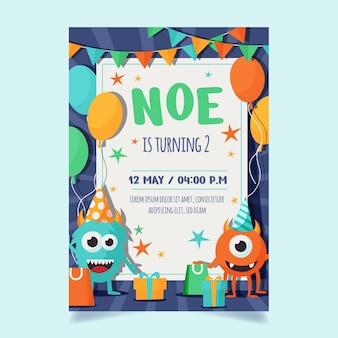 Шаблон приглашения на день рождения с монстрами