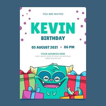 Hand drawn monsters birthday invitation template