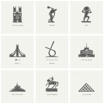 Hand drawn monuments, collection