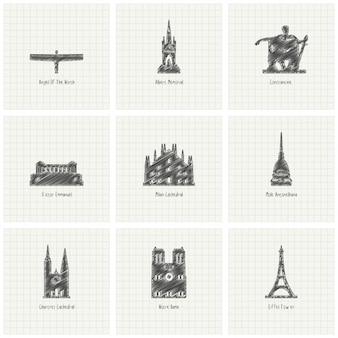 Inchiostro monumento di fama mondiale di disegno