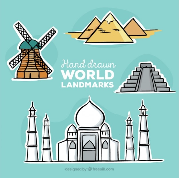 Hand drawn monuments stickers