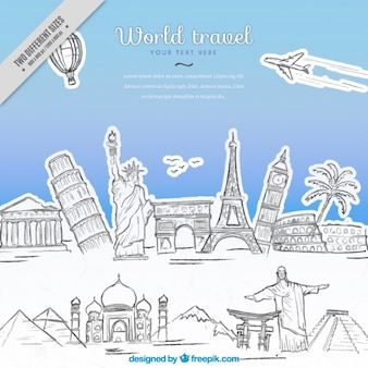 Hand drawn monuments travel background