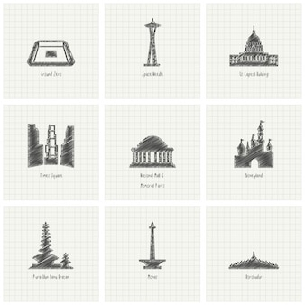 Hand drawn monuments