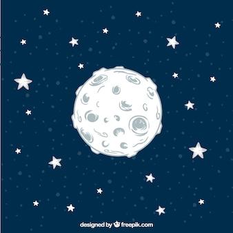 Рисованная луна фон со звездами
