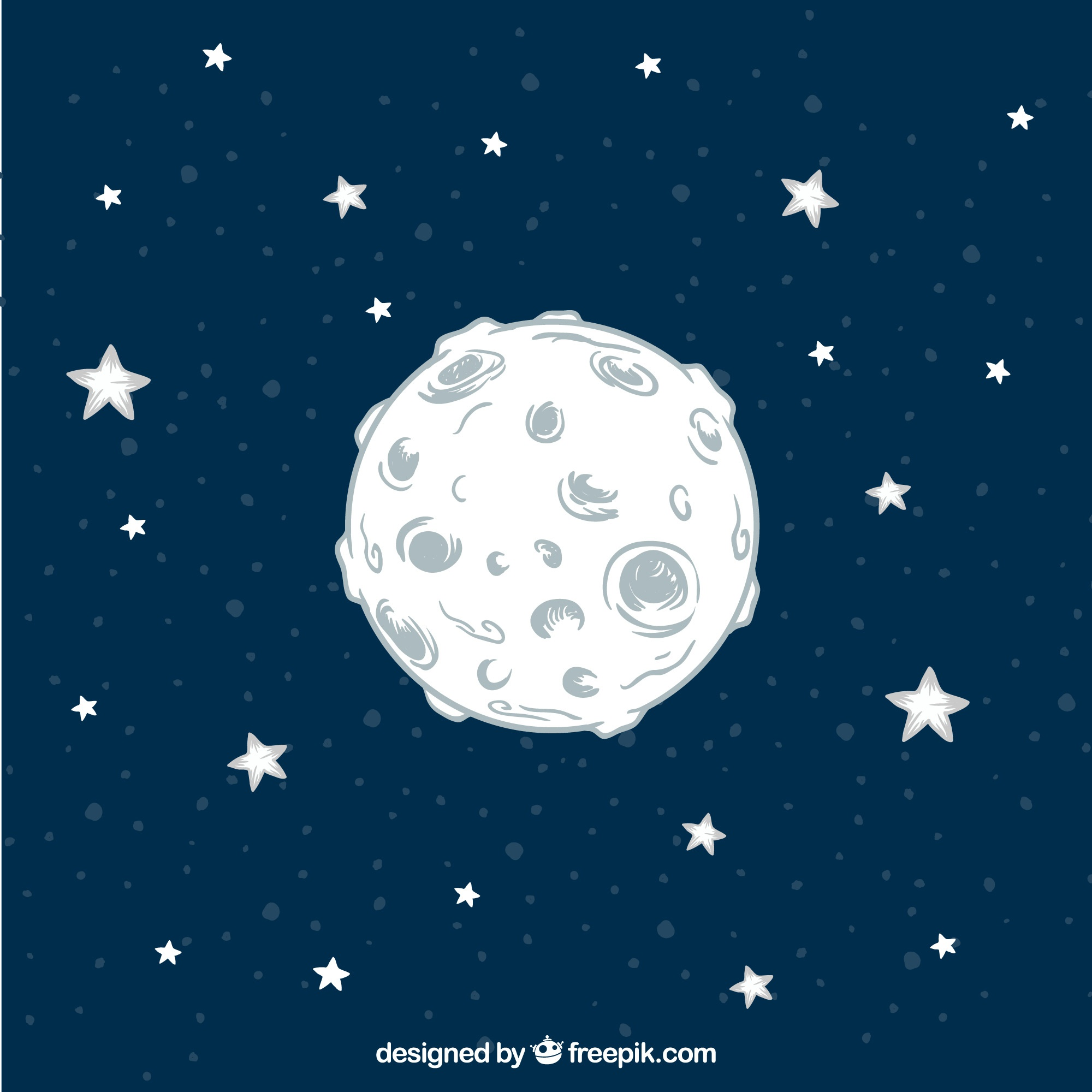 Hand drawn moon background with stars