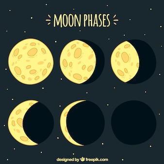 Hand-drawn moon phases