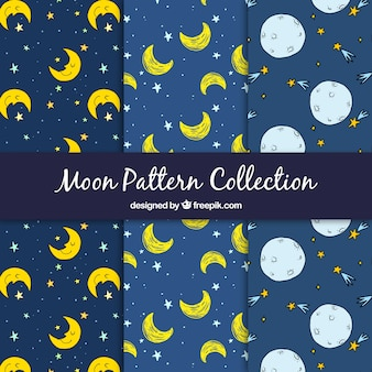 Hand drawn moon and stars patterns