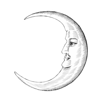 Hand drawn moon with face