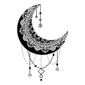 꽃, 만다라, 페이즐리로 손으로 그린 달. 흰색 배경에 고립 된 초승달의 아름 다운 꽃 패턴입니다. 라마단 포스터 또는 카드, 벡터 일러스트 레이 션의 거룩한 달 장식 문