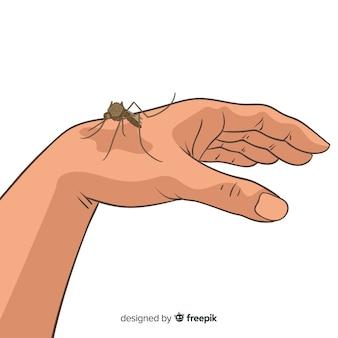 Hand drawn mosquito biting a hand