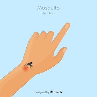 Нарисованный рукой москит, кусающий руку