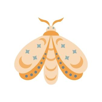 손으로 그린된 나 방 흰색 배경에 고립입니다. boho 나비 벡터 일러스트 레이 션. 미스터리 기호입니다. 생일, 파티, 의류 인쇄, 인사말 카드를 위한 디자인.