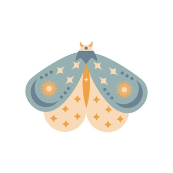 Hand drawn moth isolated on white background. boho butterfly vector illustration. mystery symbols. design for birthday, party, clothing prints, greeting cards.
