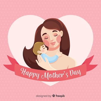 손으로 그린 어머니와 아기 어머니의 날 배경