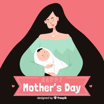 Hand drawn mother and baby mother's day background