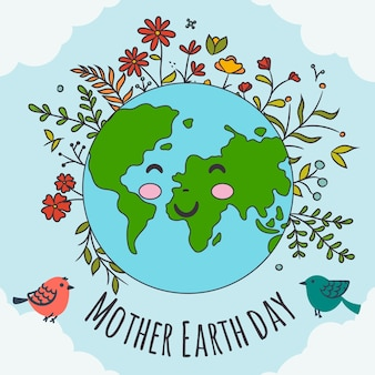 Hand-drawn mother earth banner concept