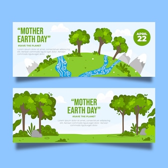Hand-drawn mother earth banner theme