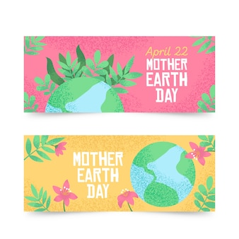 Hand-drawn mother earth day banner collection concept